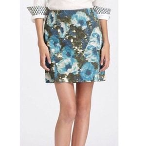 Anthropologie Postmark Floral Corduroy Skirt